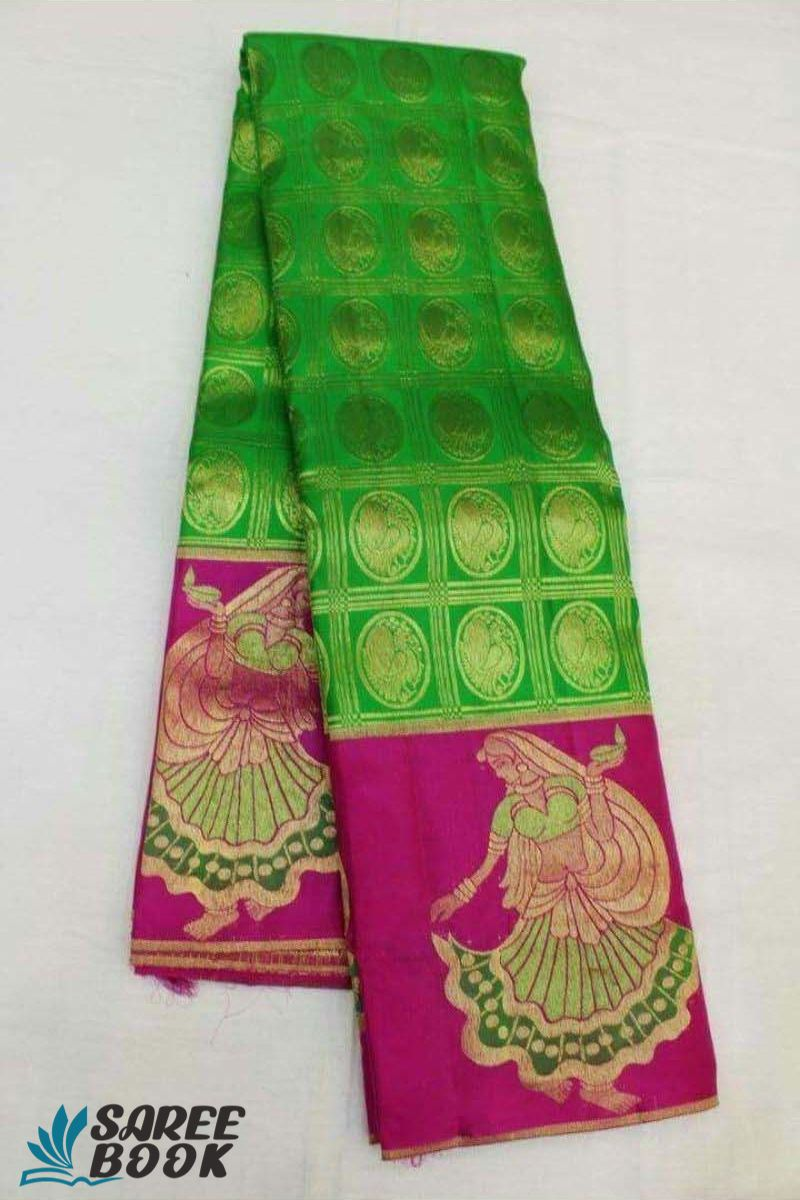 Green with Pink Colour New Soft Silk Saree - P131