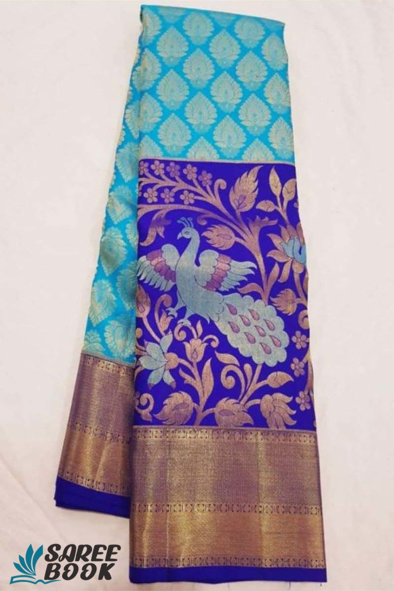 Sarees with sky and purple combination - P150