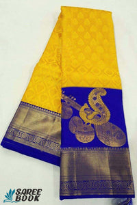 Yellow And Blue New South Silk Saree - P186