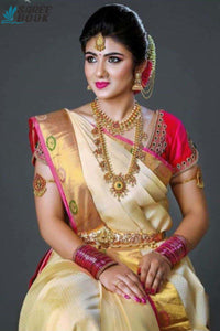 Cream Colour New Designer Silk Saree - SP56