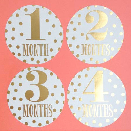 METALLIC GOLD MONTHLY BABY STICKERS