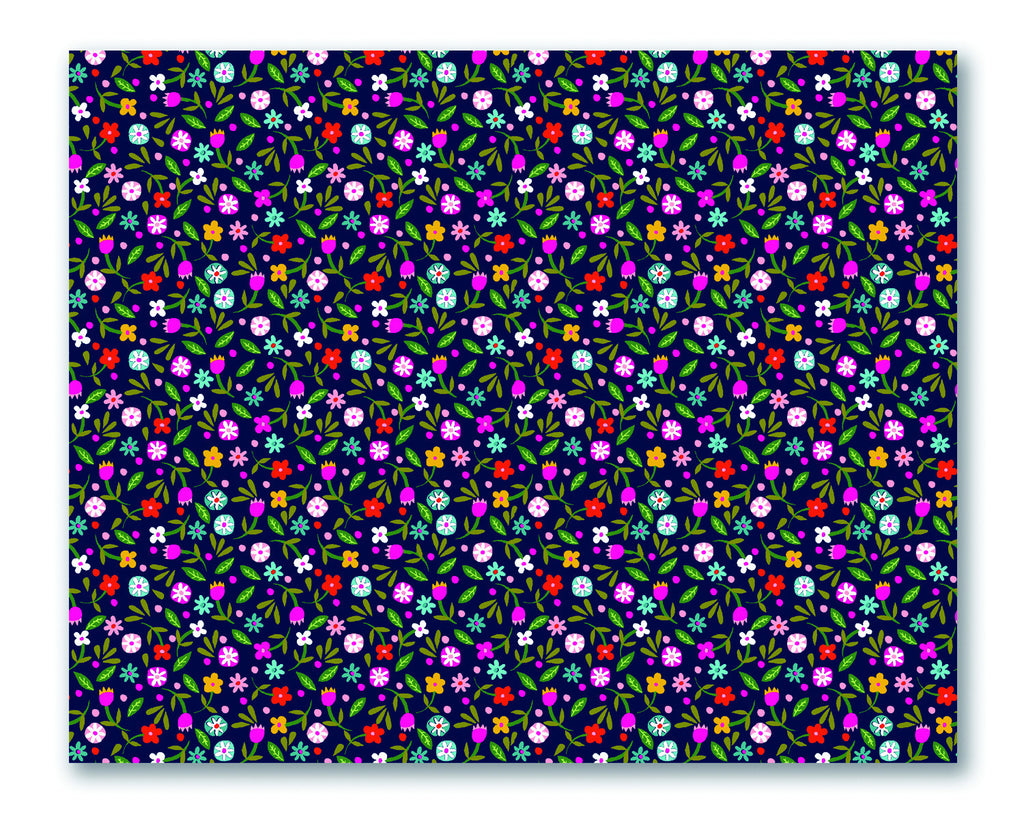 Tiny Daisies Navy Eco Wrapping Paper