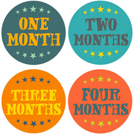 HAND LETTERING MONTH BABY STICKERS