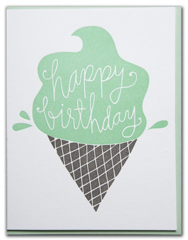 HAPPY BIRTHDAY ICE CREAM CONE CARD
