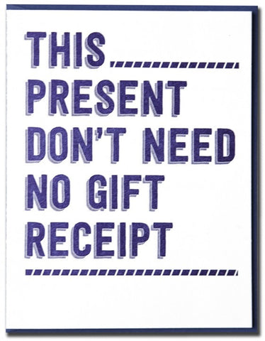 NO GIFT RECEIPT CARD