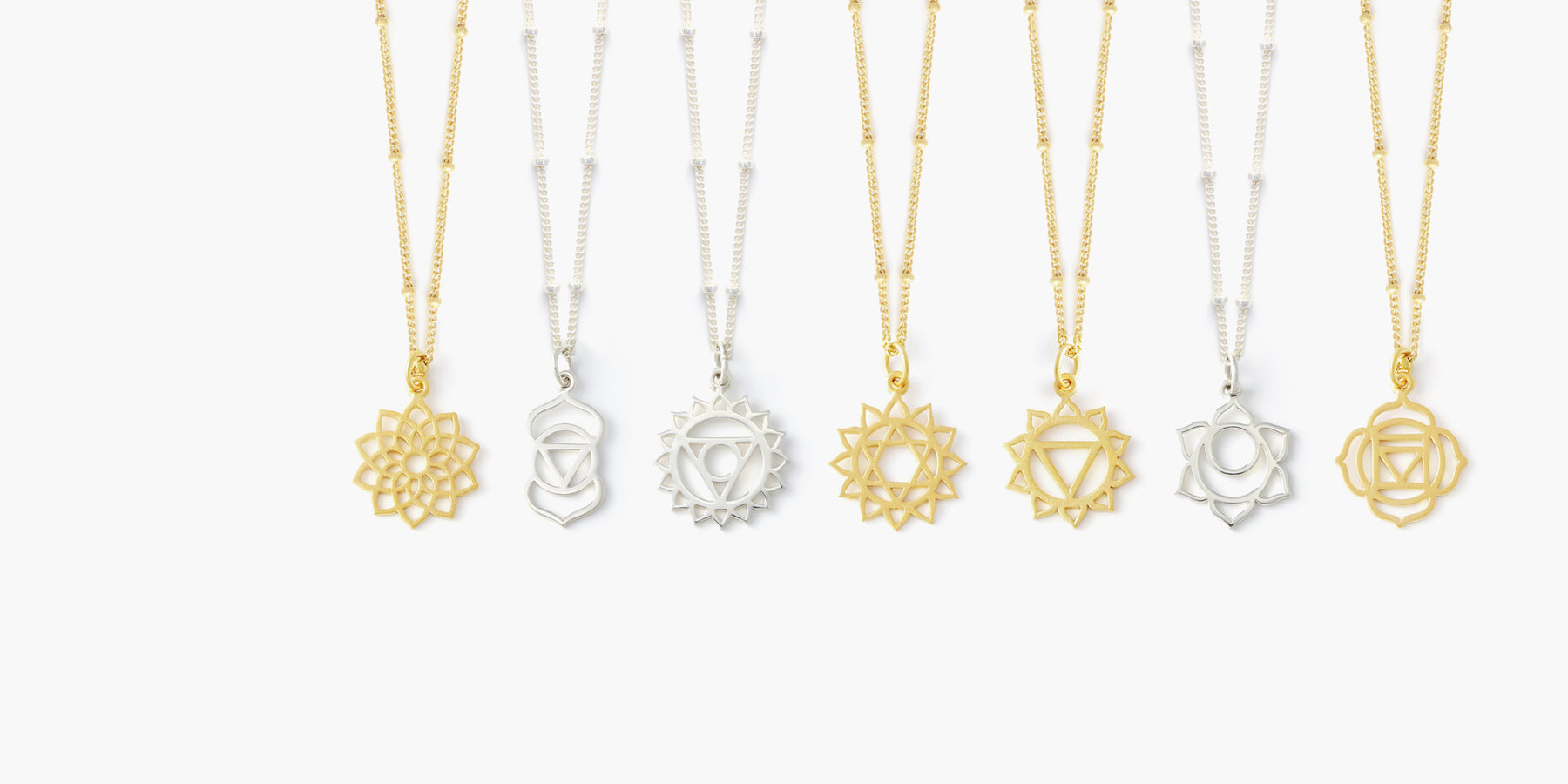 Crown, third eye, throat, heart, solar plexus, sacral, root chakra necklaces available in sterling silver & 24k gold plate.