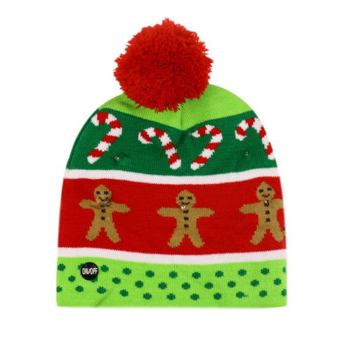 Christmas Ugly Beanie Sweater LED Light Knit Hat - Green Red