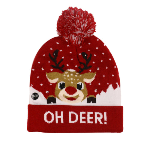 Christmas Ugly Beanie Sweater LED Light Knit Hat - Oh Deer
