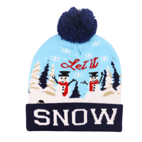 Christmas Ugly Beanie Sweater LED Light Knit Hat - Snow