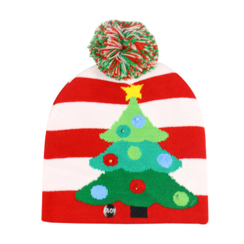 Christmas Ugly Beanie Sweater LED Light Knit Hat - White Red