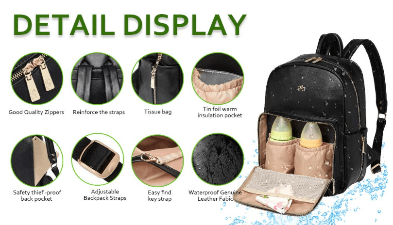 PU Leather Diaper Bag - Baby Bags