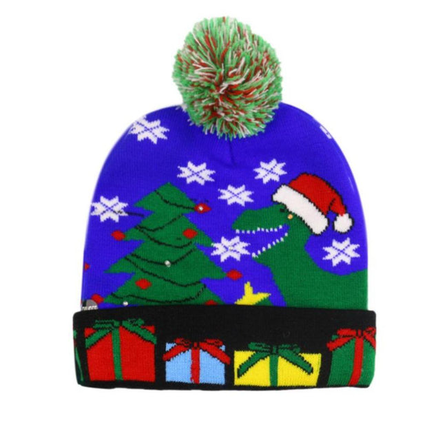 Christmas Ugly Beanie Sweater LED Light Knit Hat - Blue