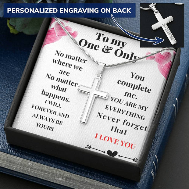 To My One & Only - Engravable Cross Necklace