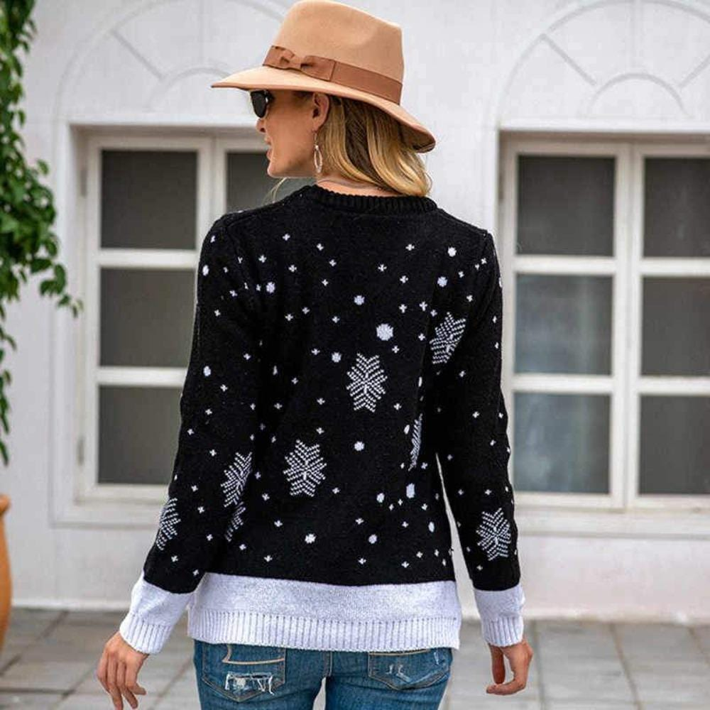 womens reindeer sweater  ugly sweater  ugly christmas sweater  reindeer sweaters  reindeer christmas sweather  long sleeved sweater 2020  long sleeved sweater  Jumper reindeer Sweaters  jacquard sweater  good christmas gifts for girlfriend  gift ideas for her  fawn jacquard sweater  cute reindeer sweater