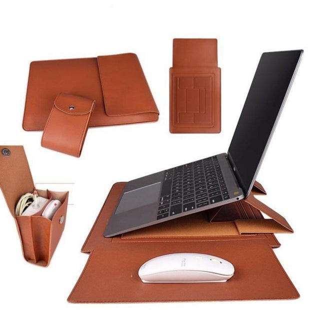 storage for laptop  sleeve for laptop  PU Leather Laptop Stand  portable laptop stand  organizing laptop  multipurpose laptop sleeve cover  multipurpose laptop sleeve  multipurpose laptop cover