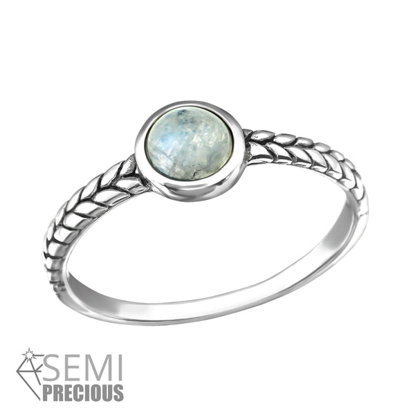 Oxidized Sterling Silver Gem Ring
