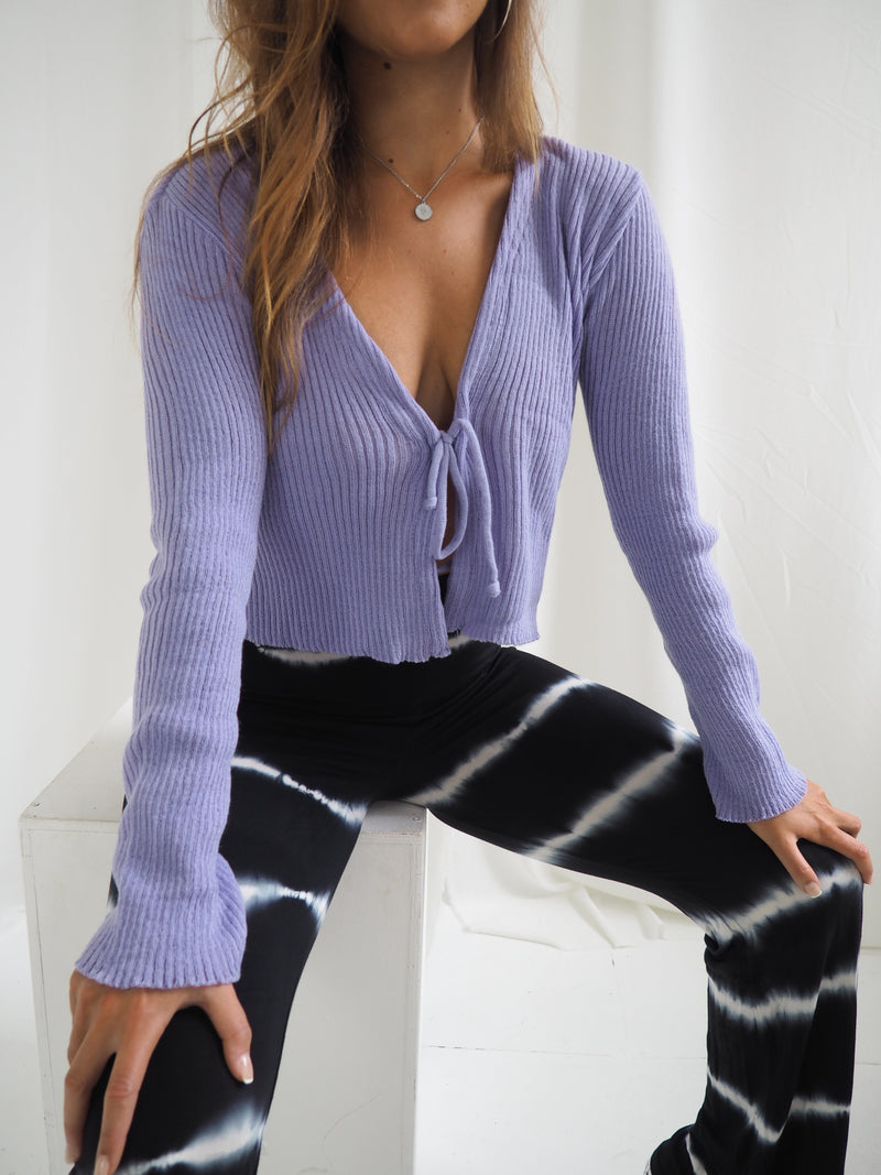 Tied In Knots Cardigan Purple