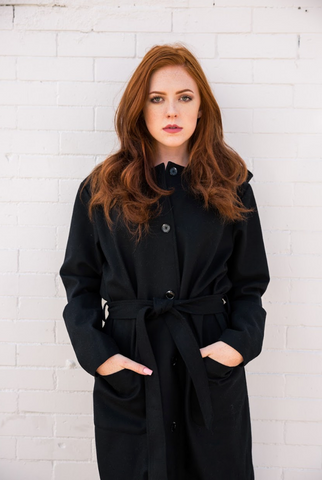 JESSICA WEATHERPROOF WOOL COAT - BLACK