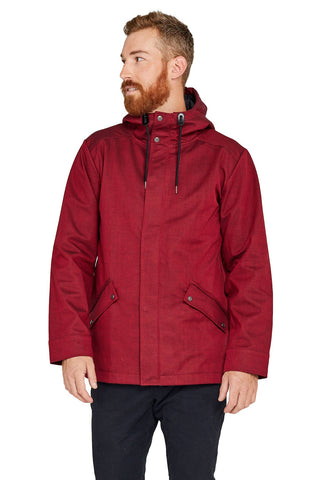 One Man Voyager Rain Jacket - Red Cotton Herringbone