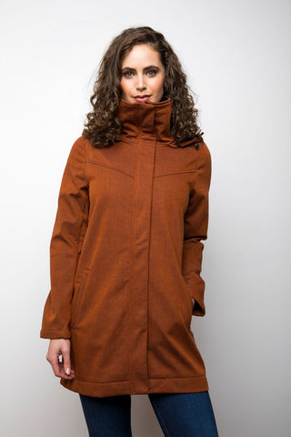 Stella Modern Rain Jacket Micro Fleece Interior - Burnt Orange