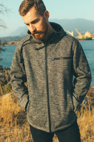One Man Tacoma Waterproof Sweater Knit Hoodie - Black