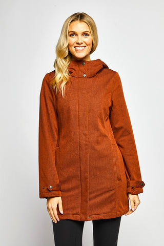 Whitney Rain Style Jacket Fleece Interior - Burnt Orange