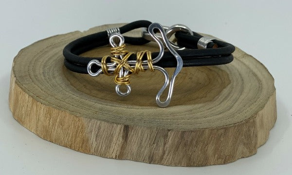 Mixed Metal Anchor Twist Bracelet