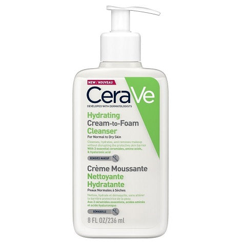 CeraVe NEW Hydrating Cream-to-Foam Cleanser now available at www.Barefection.com! Visit us for product details and our latest offers!