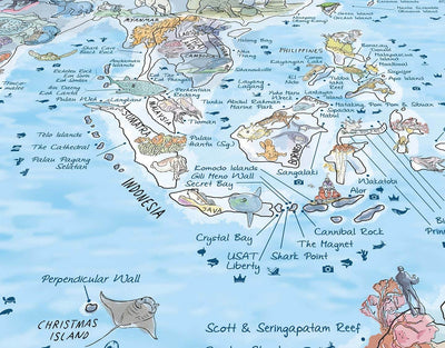 image of best diving spots in the world map