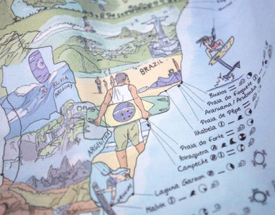 image of kitesurf map travel towel