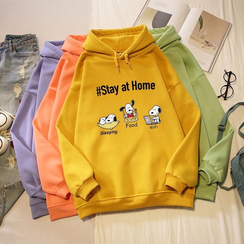 Hoodie Sweatshirt - Stay at Home - Esnoopy