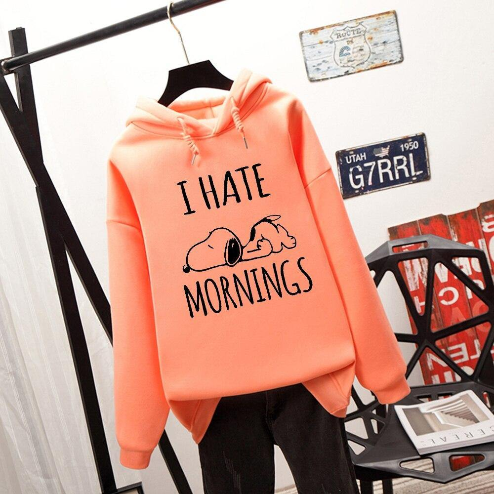 Esnoopy™ Hoodie - I Hate Mornings Esnoopy Orange S
