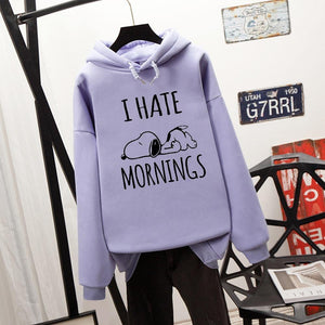 Esnoopy™ Hoodie - I Hate Mornings Esnoopy Purple S