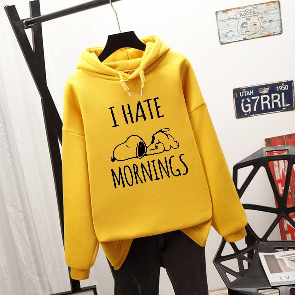 Esnoopy™ Hoodie - I Hate Mornings Esnoopy YELLOW S