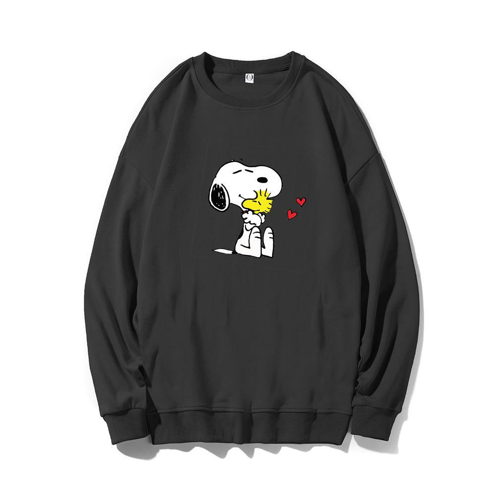 ME1 Crewneck Cotton Thin Sweatshirt Esnoopy black XS