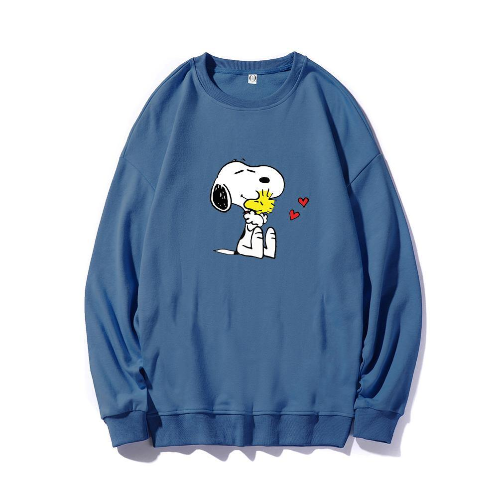 ME1 Crewneck Cotton Thin Sweatshirt Esnoopy Deep Blue XS