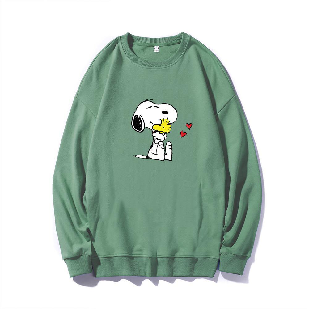 ME1 Crewneck Cotton Thin Sweatshirt Esnoopy green XS