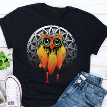 Load image into Gallery viewer, Owl Dream Catcher Mandala Unisex Cotton Tee