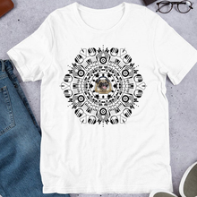 Load image into Gallery viewer, Pug Enjoys Music Mandala Unisex Cotton Tee