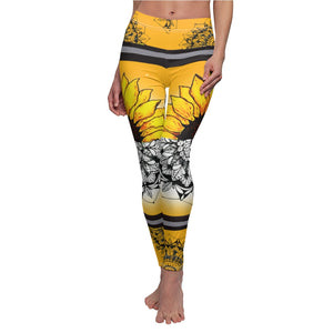 Sunflower Floral Asthetic Mandala Leggings