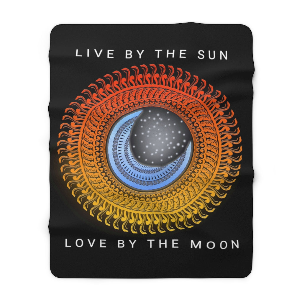 Live Love Sun & Moon Mandala Sherpa Fleece Blanket