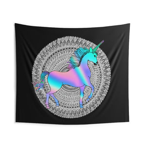 Holographic Unicorn Mandala Wall Tapestries