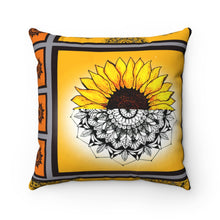 Load image into Gallery viewer, Sunflower Mandala Polyester Square Pillow