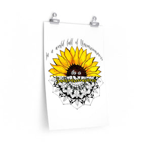 Unconscious World And Sunflower Mandala Premium Matte Vertical Posters