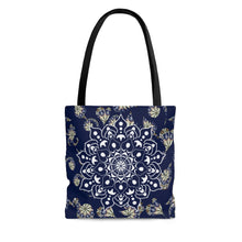 Load image into Gallery viewer, Floral Print Mandala Tote Bag