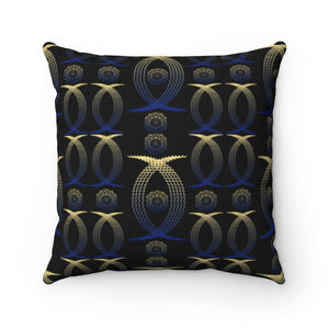 Gold And Blue Anime Girl Mandala Polyester Square Pillow