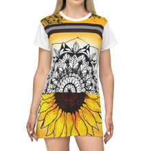 Load image into Gallery viewer, All Over Floral Print Sunflower Emerging Mandala T-Shirt Dress