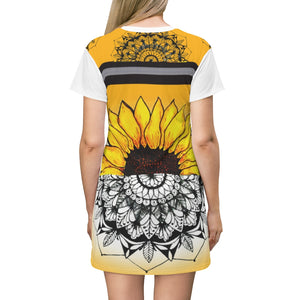 All Over Floral Print Sunflower Emerging Mandala T-Shirt Dress