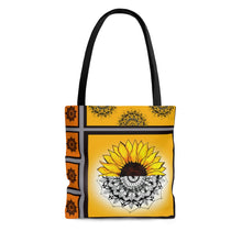 Load image into Gallery viewer, All Over Print Sunflower Mandala Tote Bag