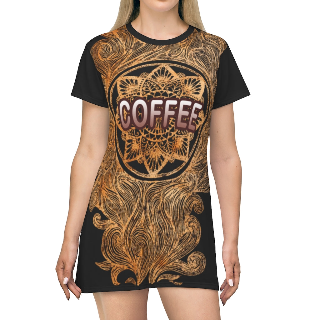 Hot Fragrant Coffee with Mandala Girl T-Shirt Dress